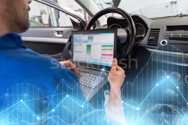 mechanic man with laptop making car diagnostic Stock photo © dolgachov