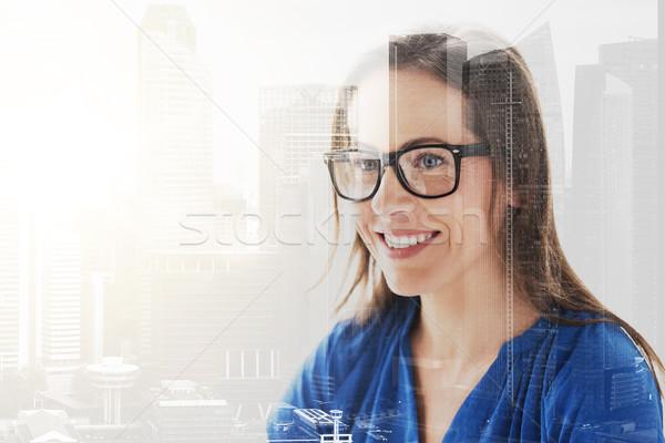 Uśmiechnięty okulary ludzi biuro Zdjęcia stock © dolgachov