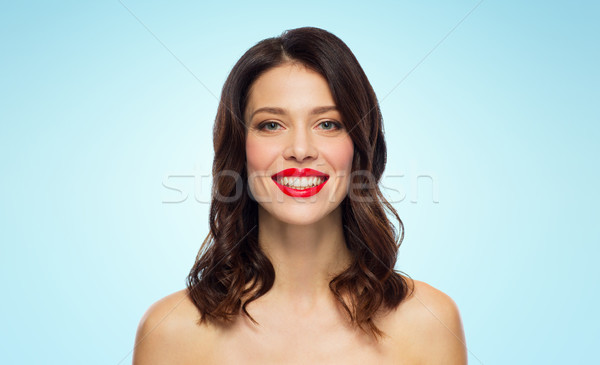 beautiful smiling young woman with red lipstick Stock photo © dolgachov