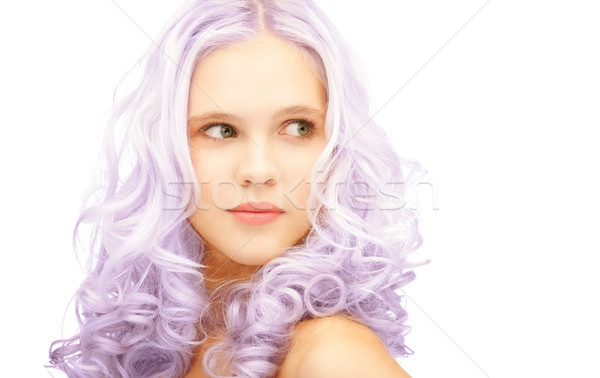 teen girl with trendy lilac dyed hair Stock photo © dolgachov
