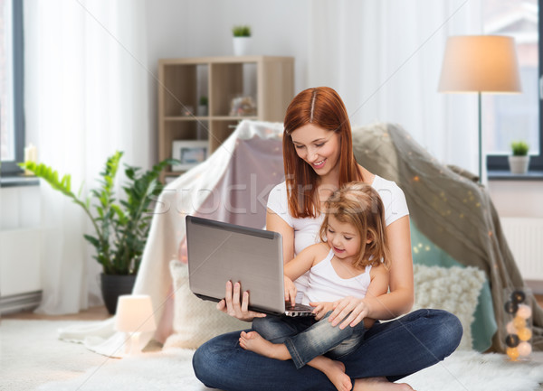 happy mother with little daughter and laptop Stock photo © dolgachov