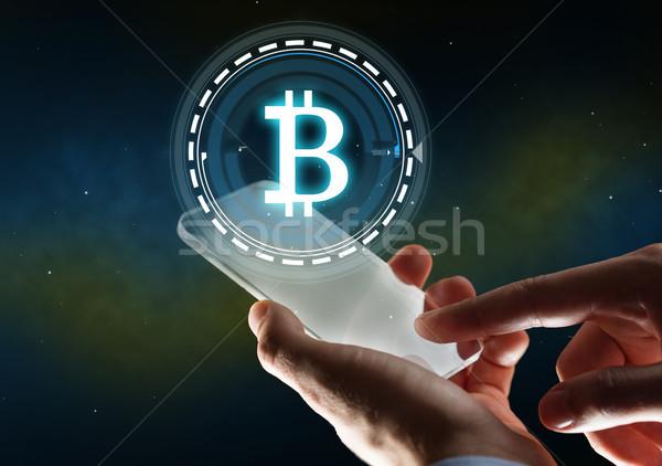 бизнесмен bitcoin голограмма бизнеса будущем Сток-фото © dolgachov