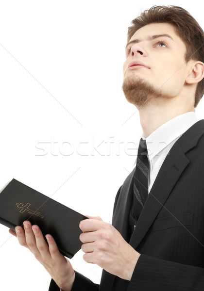 Foto stock: Hombre · Biblia · Foto · blanco · cruz