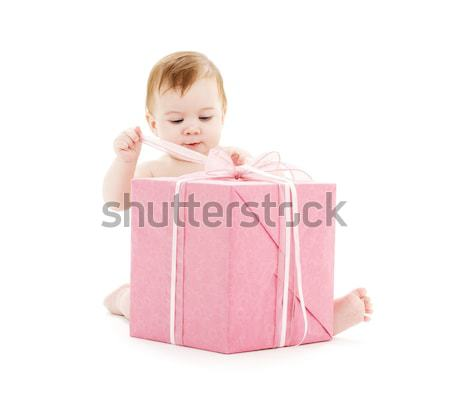 baby boy with big gift box Stock photo © dolgachov