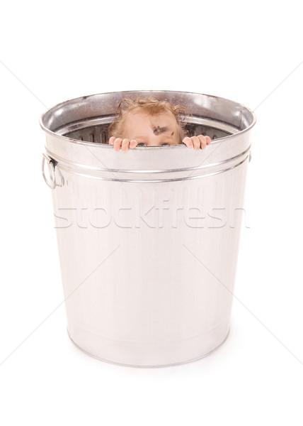 ребенка мусорное ведро фотография прелестный Focus рук Сток-фото © dolgachov