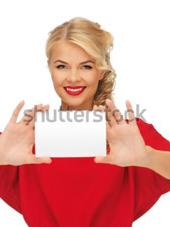 Nő vörös ruha jegyzet kártya kép fókusz Stock fotó © dolgachov