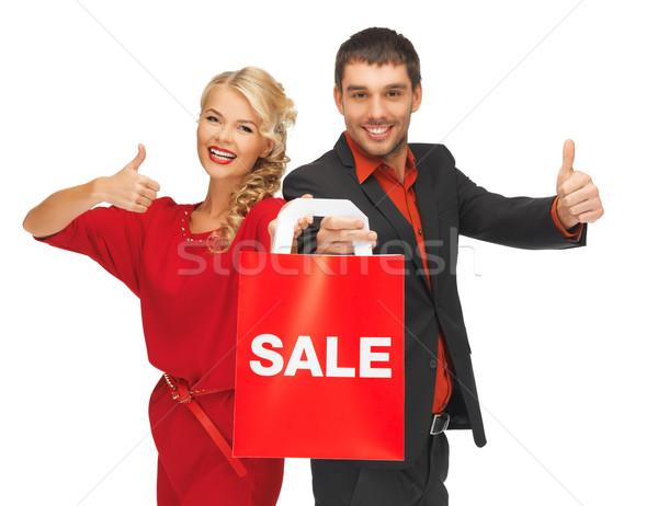 男 女性 ショッピングバッグ 明るい 画像 少女 ストックフォト © dolgachov