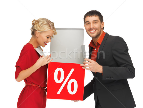 Homme femme pour cent signe lumineuses photos Photo stock © dolgachov