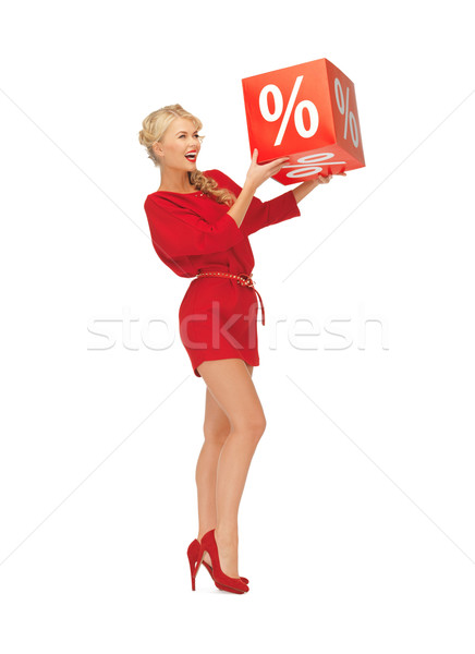 Mujer vestido rojo por ciento signo Foto feliz Foto stock © dolgachov