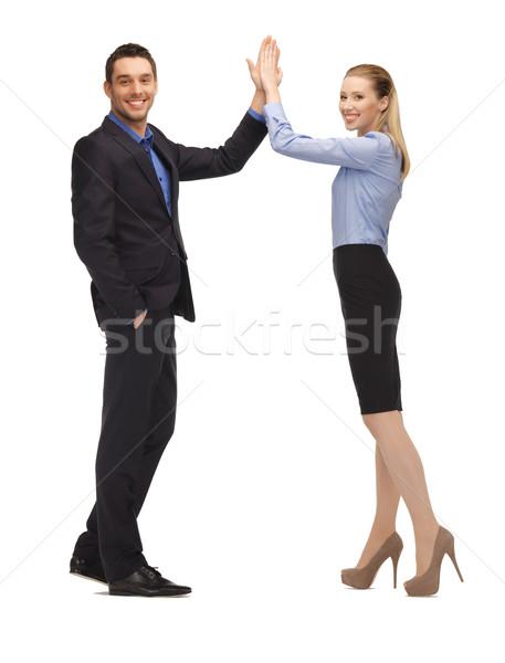 Сток-фото: человека · женщину · high · five · ярко · фотография · бизнеса