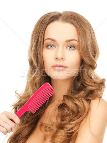 woman with brush Stock photo © dolgachov