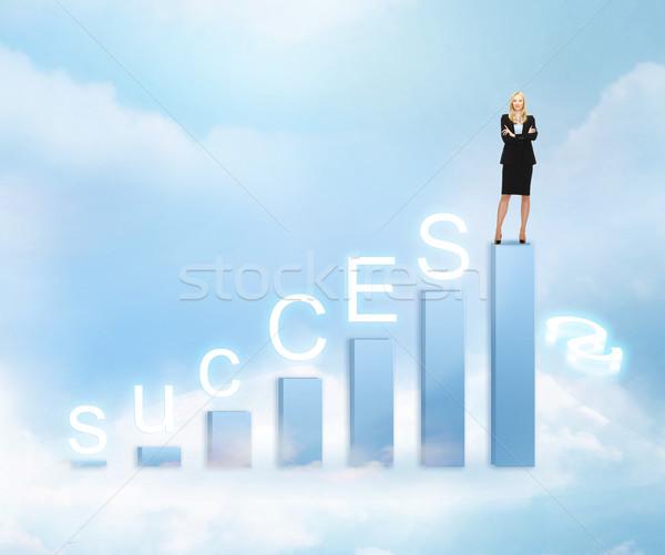 деловая женщина большой 3D диаграммы бизнеса успех Сток-фото © dolgachov