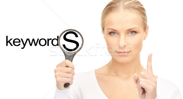 Foto stock: Mujer · lupa · palabra · negocios · seo · jóvenes