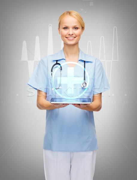 Foto stock: Sorridente · feminino · médico · enfermeira · saúde