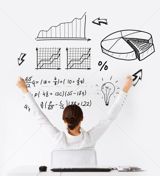 Nő hát felemelt kezek üzlet iroda nyerő Stock fotó © dolgachov
