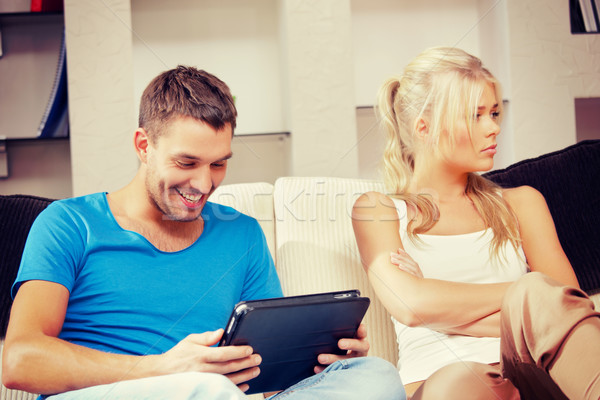 couple with tablet PC Stock photo © dolgachov