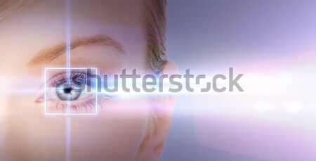 woman eye with laser correction frame Stock photo © dolgachov