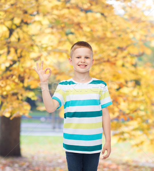 little boy in casual clothes making OK gesture Stock photo © dolgachov
