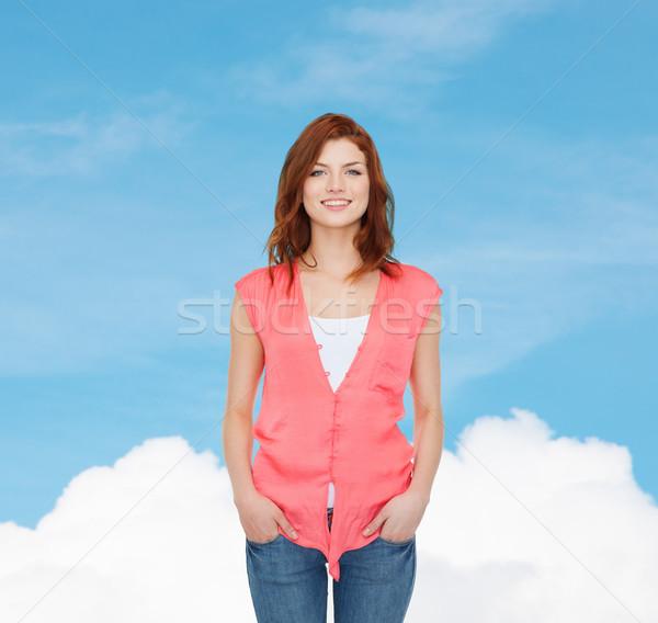 Mosolyog tinilány lezser ruházat boldogság álom Stock fotó © dolgachov