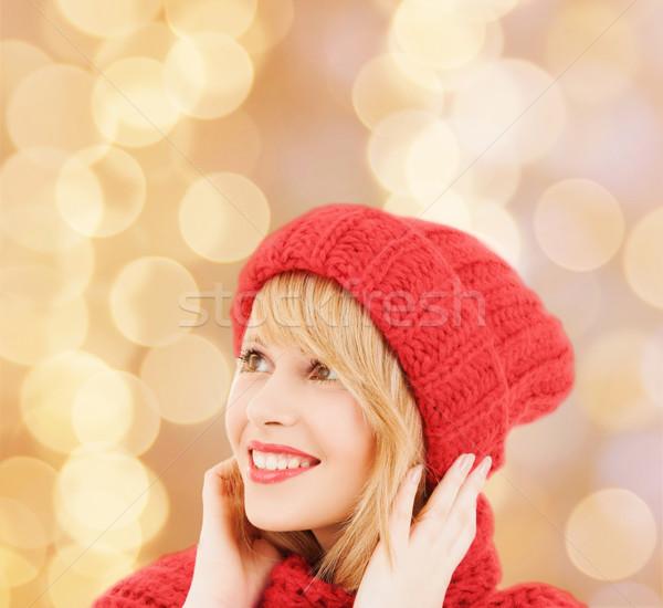 Sonriendo invierno ropa felicidad vacaciones Foto stock © dolgachov