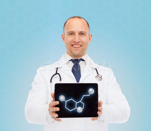 Foto stock: Sonriendo · doctor · de · sexo · masculino · Screen · medicina