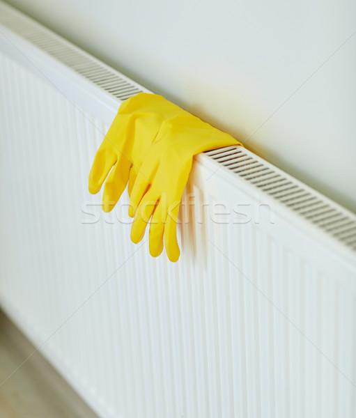 Luvas de borracha enforcamento aquecedor proteção trabalhos domésticos Foto stock © dolgachov