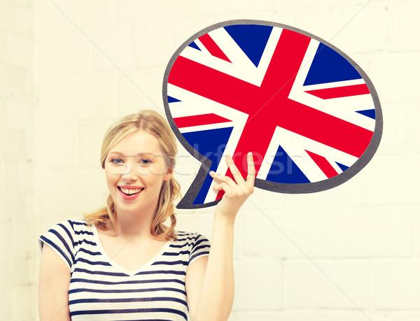 улыбающаяся женщина текста пузыря британский флаг образование язык Сток-фото © dolgachov