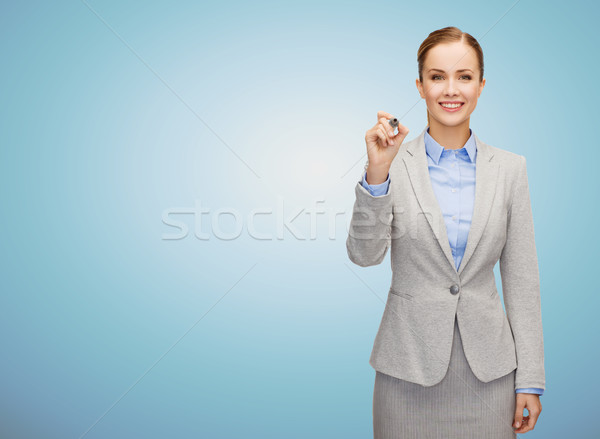 улыбаясь деловая женщина Дать что-то мнимый деловые люди Сток-фото © dolgachov