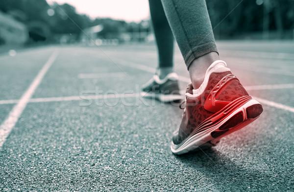 Közelkép láb piros folt fut útvonal Stock fotó © dolgachov