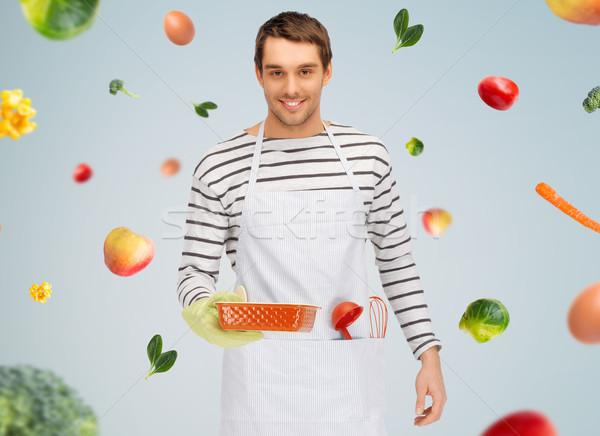 Boldog férfi szakács sütés konyhai felszerelés emberek Stock fotó © dolgachov