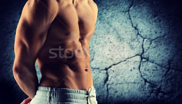 Maschio bodybuilder nudo torso sport Foto d'archivio © dolgachov