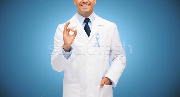 Stok fotoğraf: Mutlu · doktor · prostat · kanser · farkında · olma · şerit