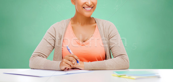 arfican female student over school chalk board Stock photo © dolgachov