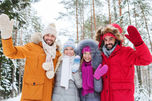 group of friends waving hands in winter forest Stock photo © dolgachov