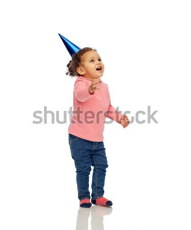 Feliz pequeno menina festa de aniversário seis infância Foto stock © dolgachov