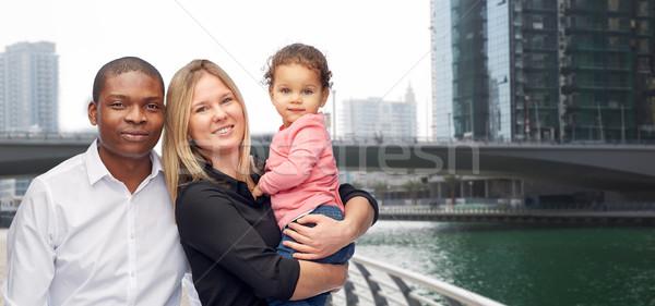 multiracial family with little child in dubai Stock photo © dolgachov