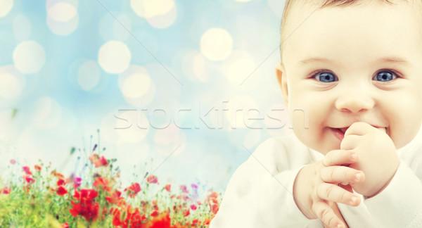 Belo feliz bebê papoula campo crianças Foto stock © dolgachov