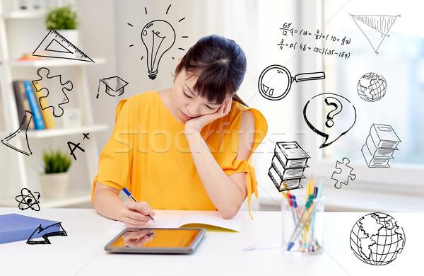 Vervelen asian vrouw student home Stockfoto © dolgachov