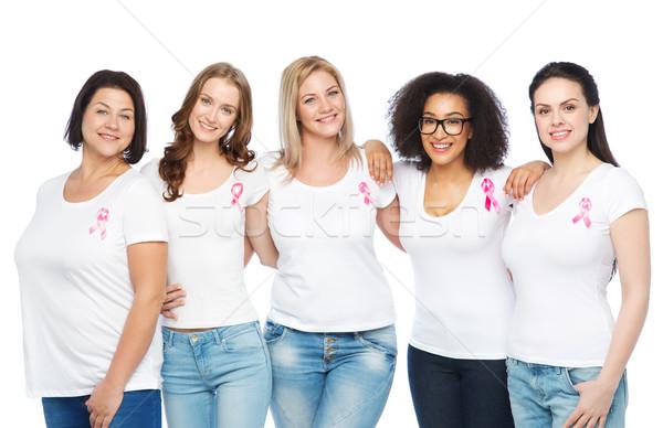 Heureux femmes cancer du sein conscience Photo stock © dolgachov