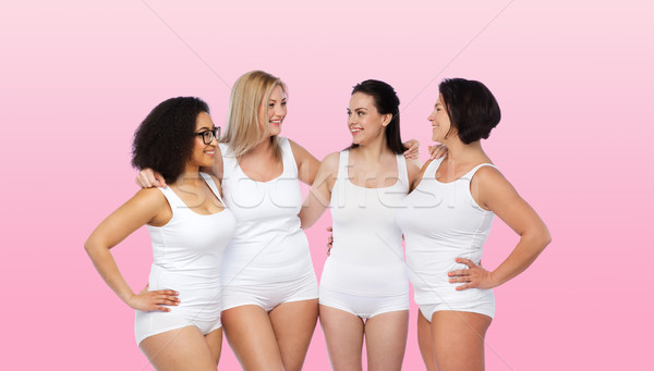 Stock photo: group of happy different women in white underwear