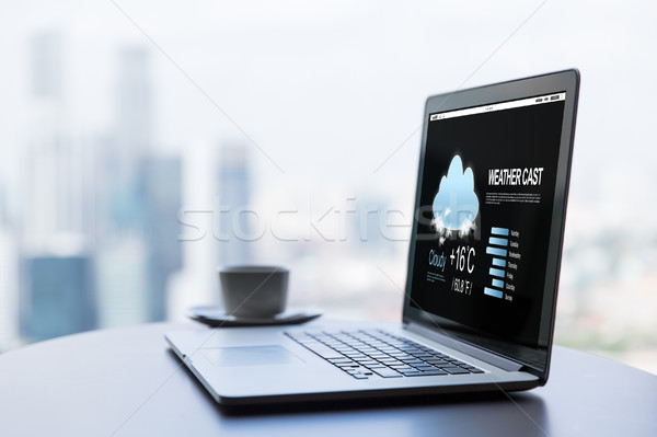 close up of laptop and coffee cup on office table Stock photo © dolgachov