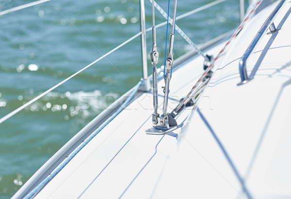 Stock photo: close up of sailboat or sailing yacht deck in sea