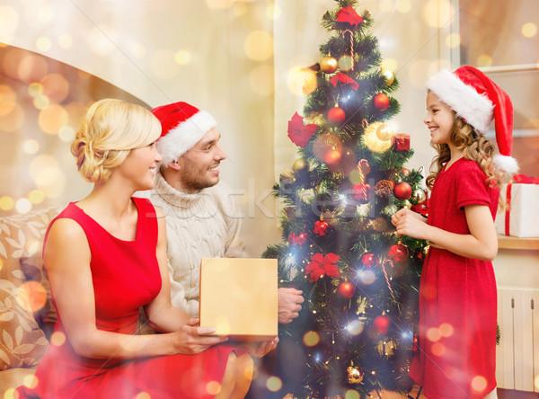 Mosolyog család karácsonyfa karácsony karácsony tél Stock fotó © dolgachov