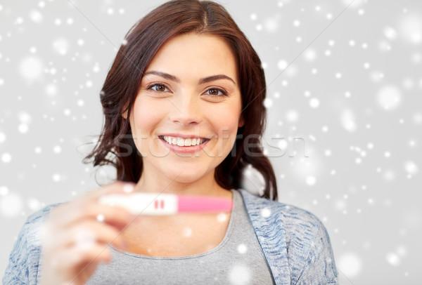 Stockfoto: Gelukkig · glimlachende · vrouw · home · zwangerschaptest · zwangerschap