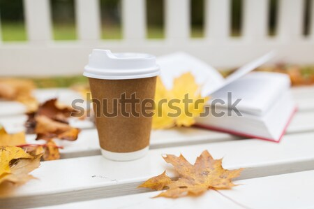 coffee drink in paper cup on bench at autumn park Stock photo © dolgachov