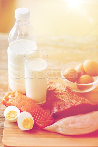 Doğal protein gıda ahşap masa Stok fotoğraf © dolgachov