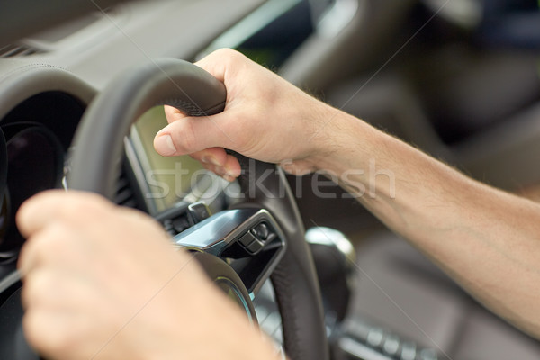 close up of male hands driving car Stock photo © dolgachov