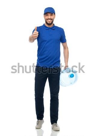 Gelukkig fles water levering dienst Stockfoto © dolgachov