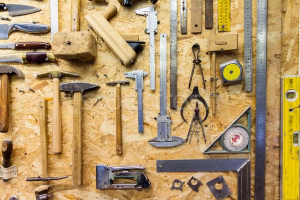 Stockfoto: Werk · tools · opknoping · muur · workshop · timmerwerk
