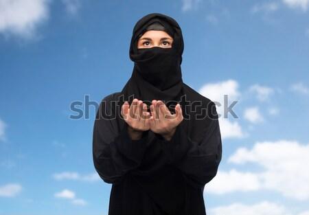Musulmans femme hijab drapeau américain immigration personnes Photo stock © dolgachov